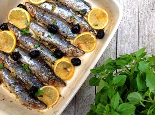 Baked Lemon & Greek Basil Sardines