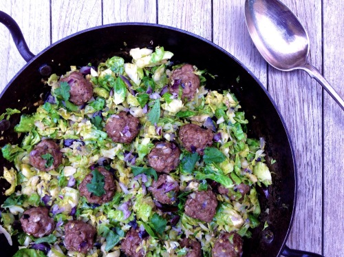 Pork & Fennel Meatballs with Spiced Brussels Sprouts